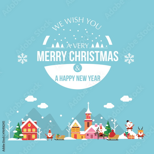 Aluminium Prints Green coral Christmas holiday modern flat design with cute little town. Happy new year greeting card. illustration vector eps 10
