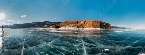 Panorama frozen winter Baikal