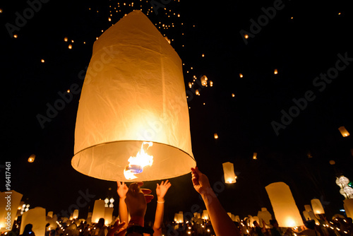 Fotografie, Obraz  Sky floating lantern, Yi Peng,Firework Festival , Chiangmai , Thailand