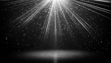 White Light Beams And Particles On Black Abstarct Background
