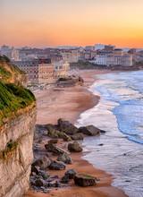Sunset Over Biarritz Beach, France