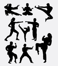 Martial Art Training. Man, Woman, And Kid. Good Use For Symbol, Logo, Web Icon, Mascot, Game Elements, Or Any Design You Want. Easy To Use, Edit, Or Change Color.