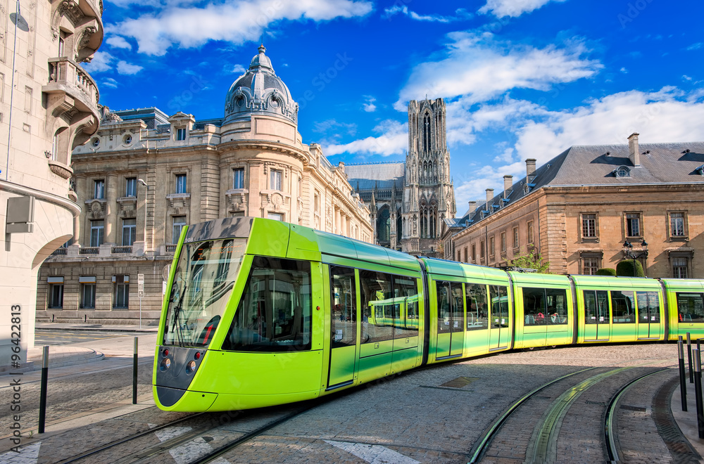 Fototapety, obrazy: Modern tram on the streets of the old town of Reims, France