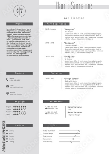 vector creative resume template minimalist style cv infographic elements - Elements Of A Resume