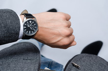 Stylish Wrist Watch On His Hand Businessman