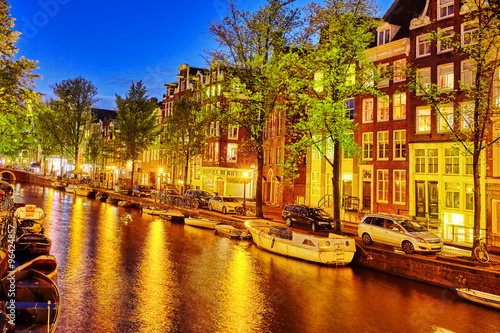 Beautiful Amsterdam city at the evening time. Wallpaper Mural