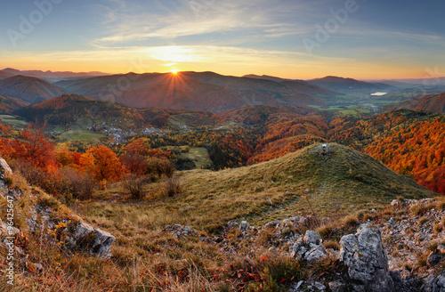 Spoed Foto op Canvas Grijze traf. Autumn rural forestl landscape at sunset