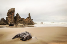 Scene At An Oregon Beach In The Pacific Northwest On A Cloudy Da
