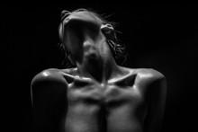 Beautiful Sensual Model Posing Naked In The Studio.