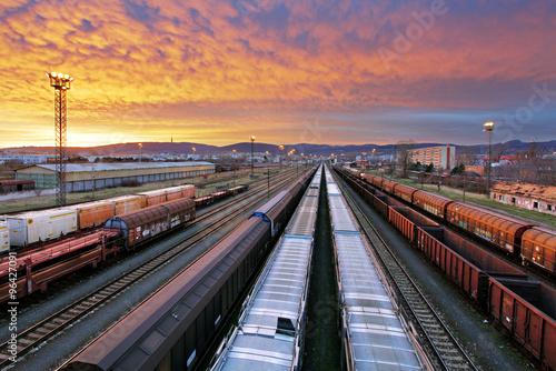 Train freight - Cargo railroad industry Fototapeta
