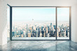 canvas print picture - Empty loft room with big window in floor and city view