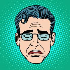 Retro Emoji cry face man