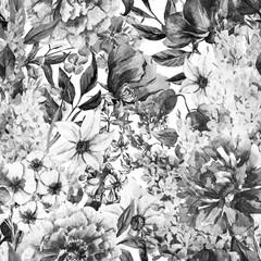 Panel Szklany Czarno-Biały Watercolor floral pattern