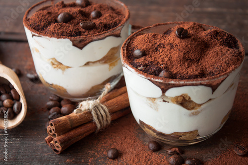 Foto op Canvas Dessert Tiramisu in a glass cup