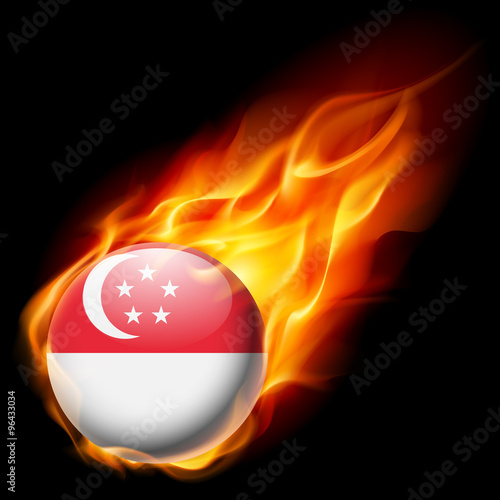 Photo  Round glossy icon of Singapore