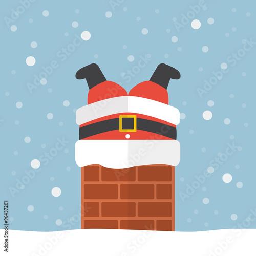 Fotomural Santa claus stuck in the chimney