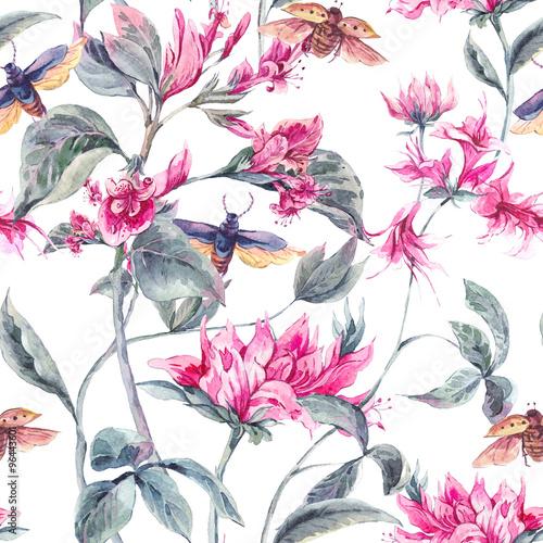 akwarela-bezszwowe-tlo-z-rozowe-kwiaty-i-chrzaszcze