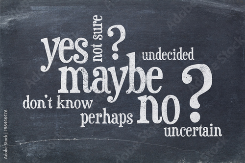 yes, no, maybe word cloud Canvas-taulu