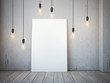 canvas print picture - Blank white canvas with glowing bulbs in the loft interior.