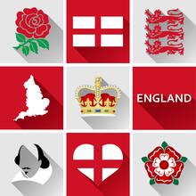 England Flat Icon Set. Set Of...
