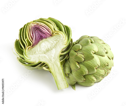 Whole and halved fresh artichoke Canvas Print