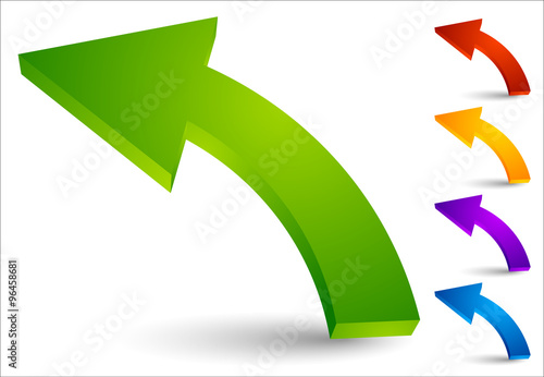 Set of curved, colored arrows pointing left Poster