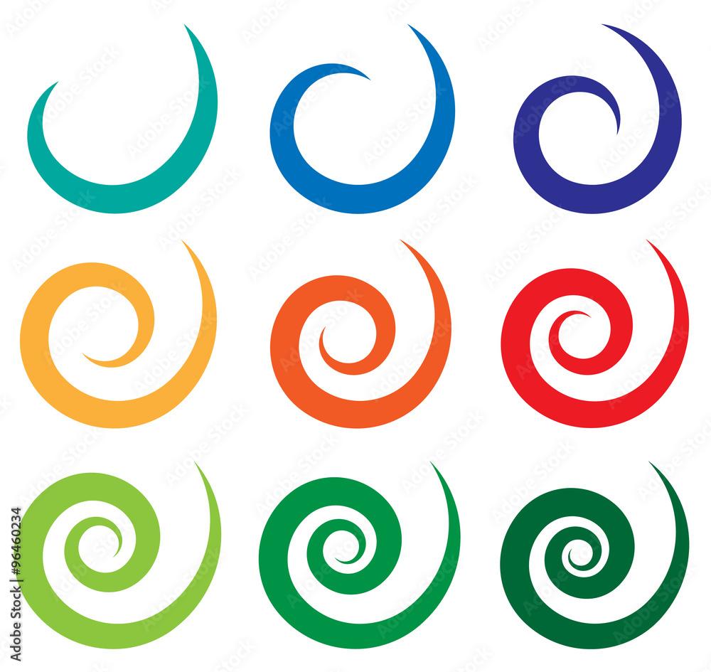 Fototapety, obrazy: Set of different spiral, swirl, twirl shapes