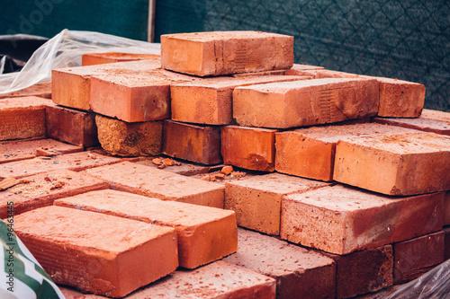Pile of red singles bricks Tapéta, Fotótapéta