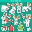 Set sticker deer doodle, different poses for design. Deer standing
