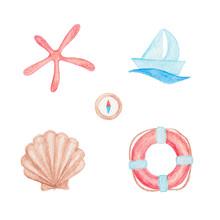 Boat, Seashell, Compass, Lifeb...