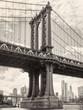 Black and white view of the Manhattan bridge in New York