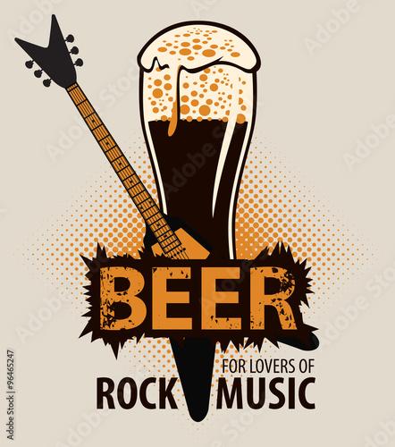 Billede på lærred beer for lovers of rock music with a glass and electric guitar