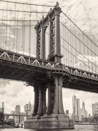 Black and white view of the Manhattan bridge in New York #96465279
