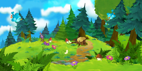 Cartoon background of a forest - illustration for the children