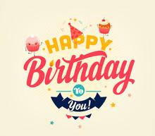 Happy Birthday Typographical Card
