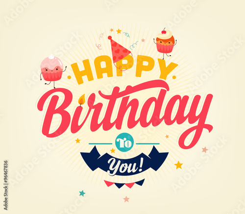 Photo  Happy Birthday Typographical Card