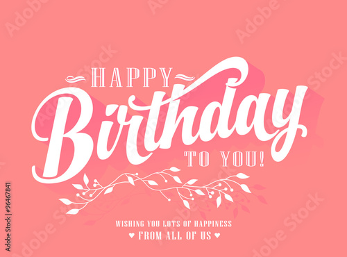 Photo  Vintage Happy Birthday Typographical Background