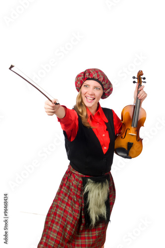 Funny woman in scottish clothing with violin - Buy this