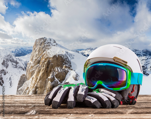 Acrylic Prints Winter sports Colorful ski glasses, gloves and helmet