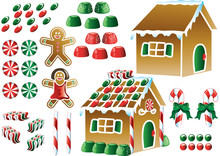 Colorful Christmas Gingerbread House Icons