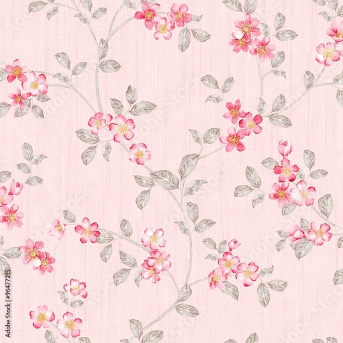 Fotobehang Vintage Bloemen flowers seamless pattern - For easy making seamless pattern use it for filling any contours