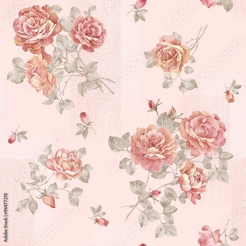 Spoed Foto op Canvas Vintage Bloemen flowers seamless pattern - For easy making seamless pattern use it for filling any contours