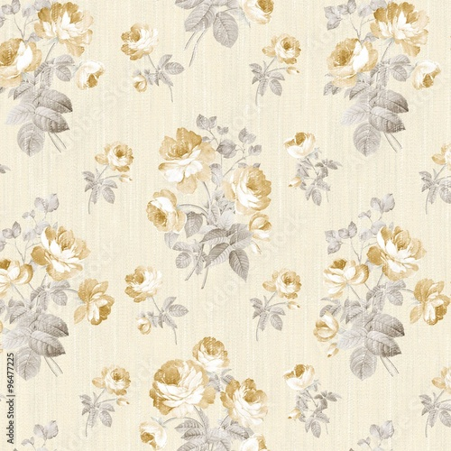 Deurstickers Vintage Bloemen flowers seamless pattern - For easy making seamless pattern use it for filling any contours