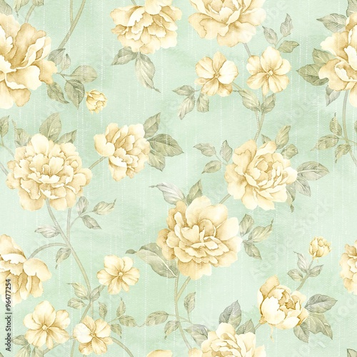 Montage in der Fensternische Vintage Blumen flowers seamless pattern - For easy making seamless pattern use it for filling any contours
