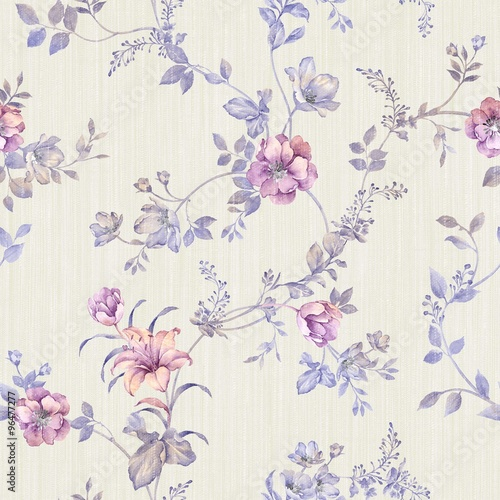 Fleurs Vintage flowers seamless pattern - For easy making seamless pattern use it for filling any contours
