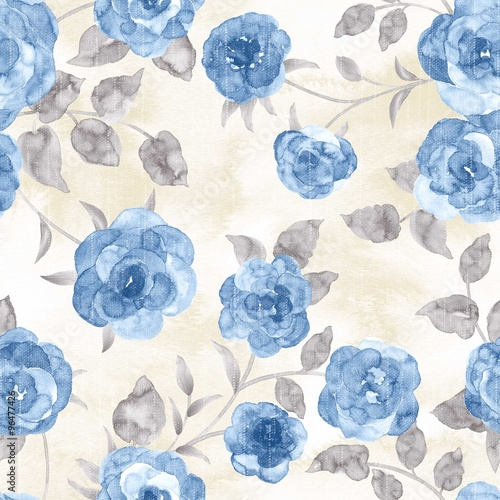 Foto auf AluDibond Vintage Blumen flowers seamless pattern - For easy making seamless pattern use it for filling any contours