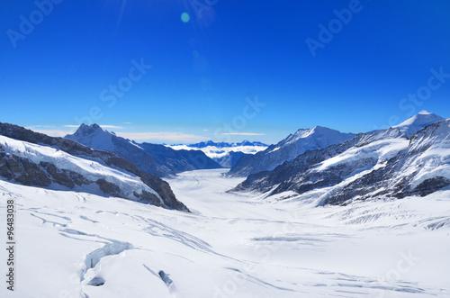 Poster Glaciers スイス ユングフラウヨッホから見たアレッチ氷河