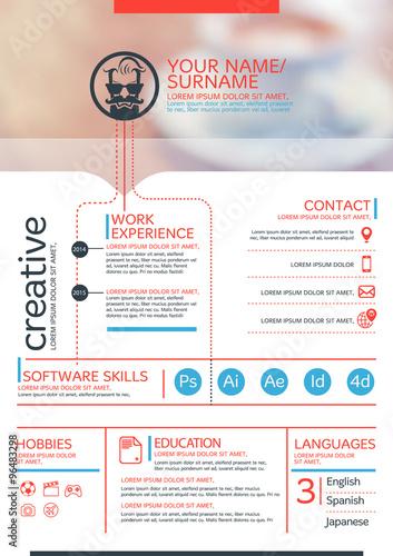 Vector resume template. CV, Brochure layout,magazine ...