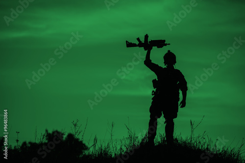 Canvas Prints Military Silhouette of soldier with rifle..
