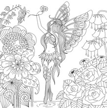 Hand Drawn Fairy Flying In Flower Land For Color Book For Adult
